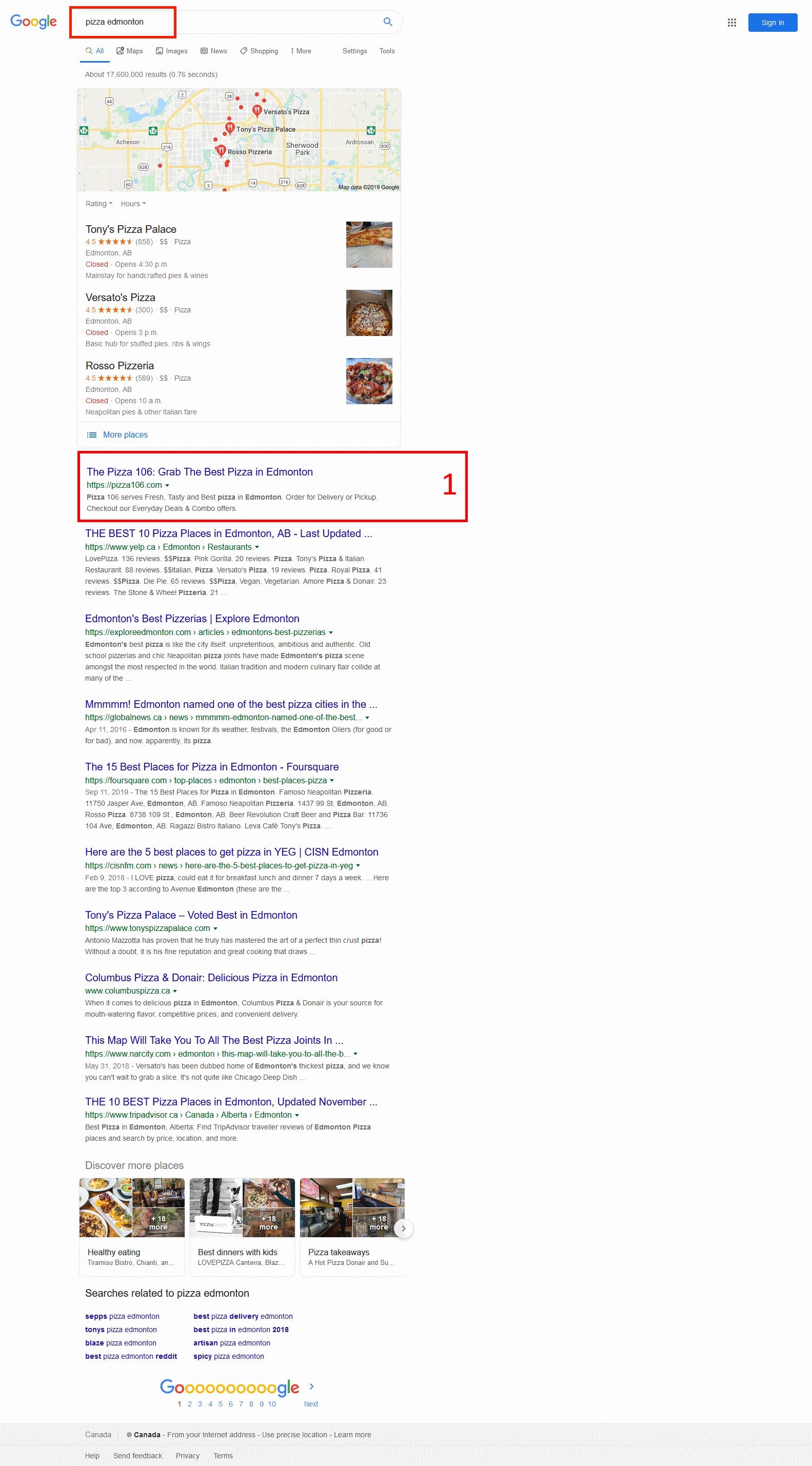 just type pizza edmonton and check the first result